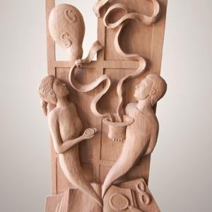 "Sculpture: ""Dreams"" - 90 h x 37 x 10 cm - Wood ""okumé"""