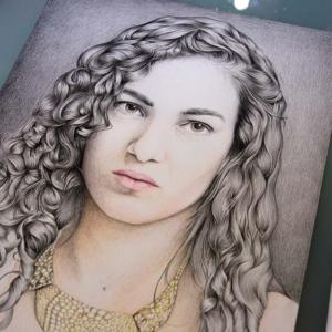"""Paper Artwork: """"Portrait"""" - 40 x 60 cm - Pastels on paper"""