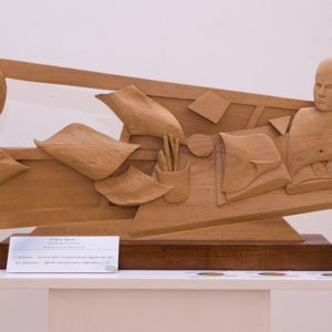 """Sculpture: """"Thoughts"""" - 36 h x 88 x 5,5 cm - Wood """"American elm"""""""