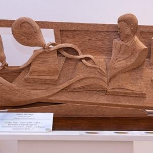 """Sculpture:""""Alpha and Omega"""" - 36 h x 87 x 9 cm - Wood """"mahogany"""""""