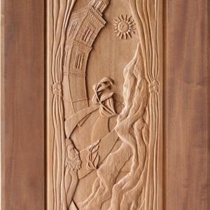 """Sculpture: """"Soleto"""" - 191,5 h x 79,5 x 10 cm - Wood """"okumé"""""""