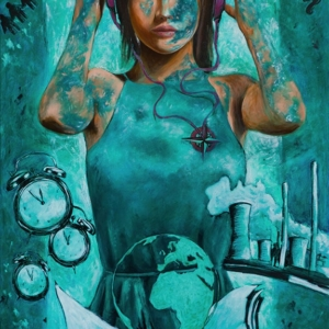 """""""Try again"""" - 80 x 50 cm - Oil on canvas/ Mixed media"""