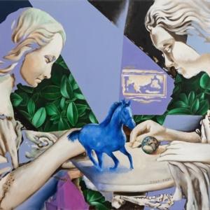 """""""Blue Horse"""" - 80 x 50 cm - Oil paint on canvas"""